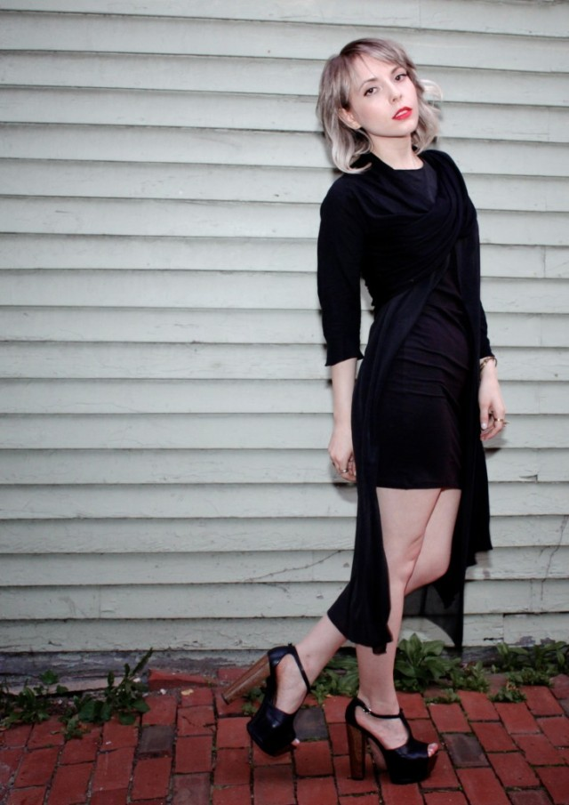 black cheap monday yuke dress and dkny wrap sweater