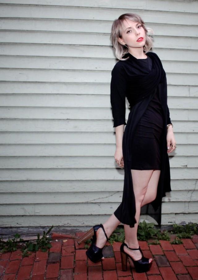 black cheap monday yuke dress and dkny wrap sweater