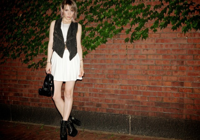 white and grey outfit, big shoes