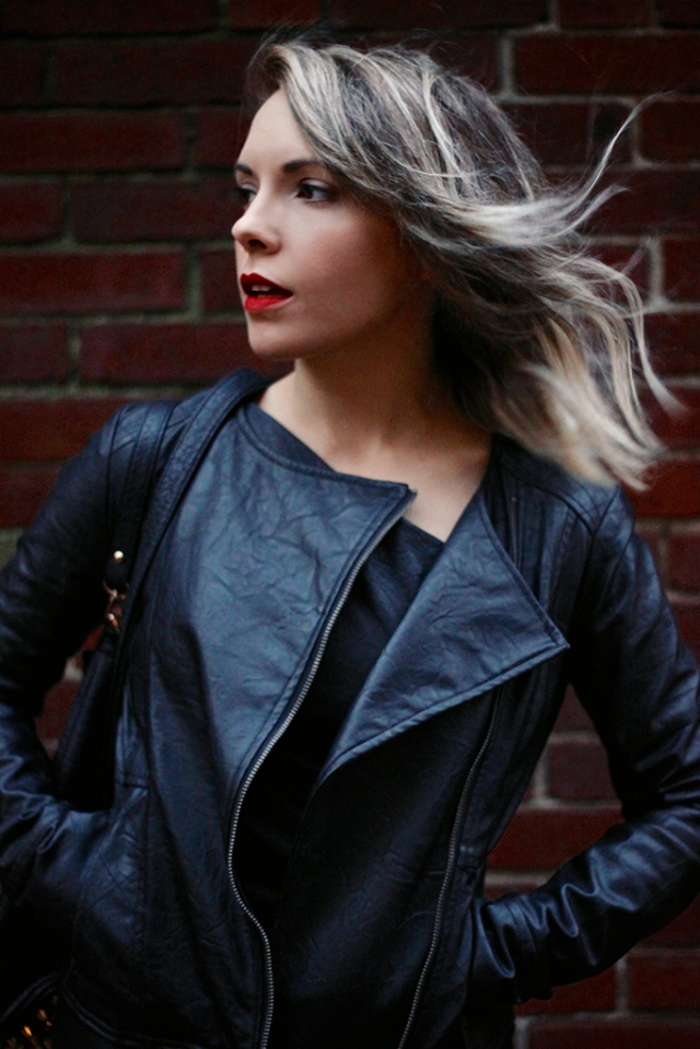 windblown hair and leather jacket via leather on leather | covetous creatures