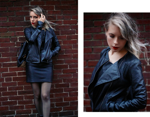 black leather jacket, allsaints leather dress, red lips & windblown hair via leather on leather | covetous creatures
