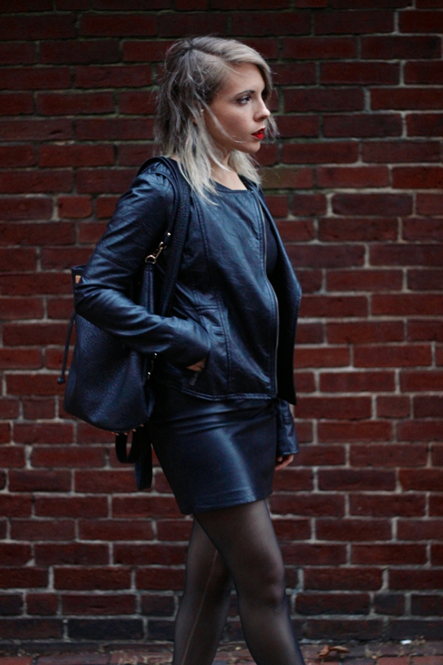 leather dress, leather jacket, leather bag via leather on leather | covetous creatures