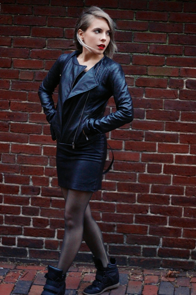 leather jacket, leather dress, sneaker wedges via leather on leather | covetous creatures